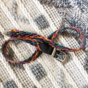 Multicolored genuine leather braided belt S